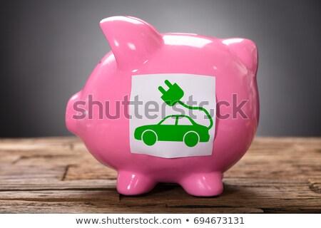 Verde carro elétrico rosa madeira Foto stock © AndreyPopov