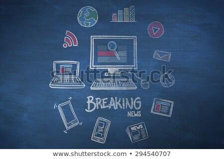 Breaking News - Doodle Illustration on Blue Chalkboard. Stock photo © tashatuvango