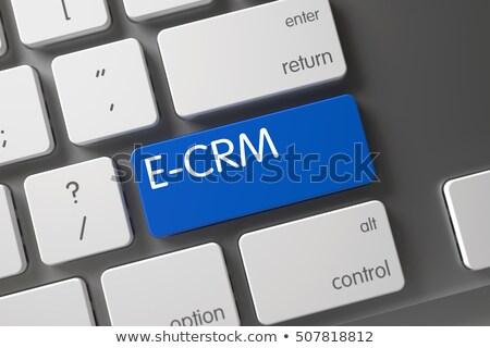 Blauw toetsenbord knop elektronische klant relatie Stockfoto © tashatuvango