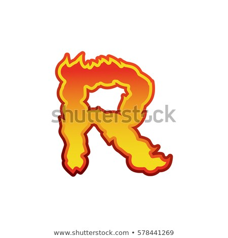 Letter R fire. Flames font lettering. Tattoo alphabet character. Stock photo © popaukropa