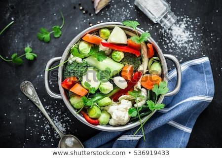 Lábas zöldségleves étel háttér ősz szakács Stock fotó © M-studio