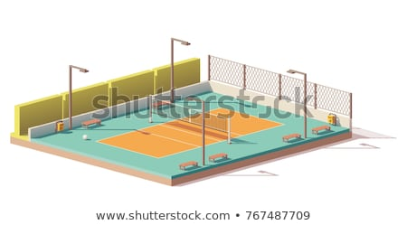Icon playground volleyball in isometric, vector illustration. Stock photo © kup1984