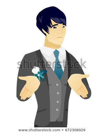 Asian confused groom shrugging shoulders Stock photo © RAStudio
