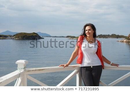 Mulher jovem ver norueguês belo ao ar livre tiro Foto stock © svetography