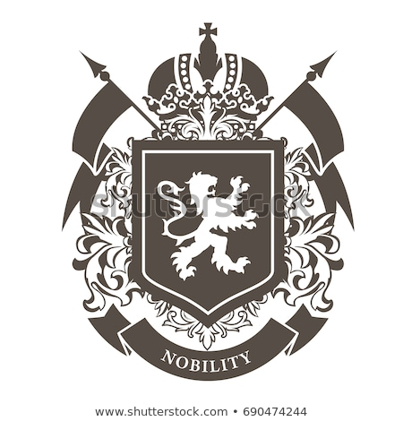 coat of arms heraldic royal emblem shield with crown and laurel stock photo © pashabo