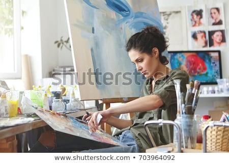 Kadın boyama tuval çizim sınıf özenli Stok fotoğraf © wavebreak_media