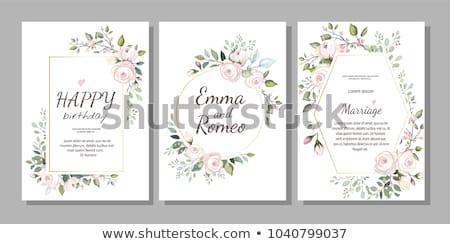 Foto stock: Decorativo · cartão · flores · vetor · florescimento · projeto