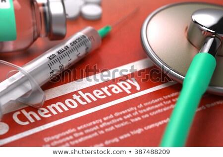 chemotherapy   printed diagnosis on orange background stock photo © tashatuvango