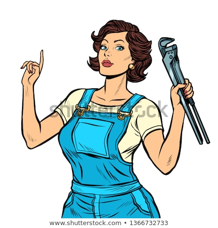 Cartoon Mechanic or Plumber Woman Holding Spanner Stock photo © Krisdog