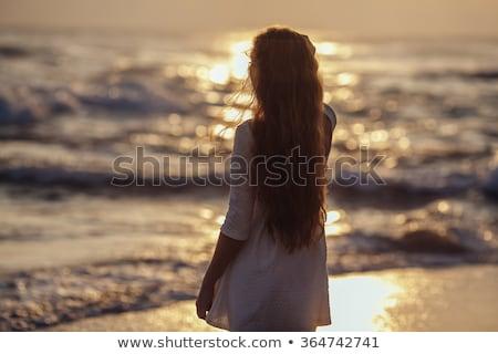Gyönyörű lány áll óceán gyönyörű fiatal nő bikini Stock fotó © svetography