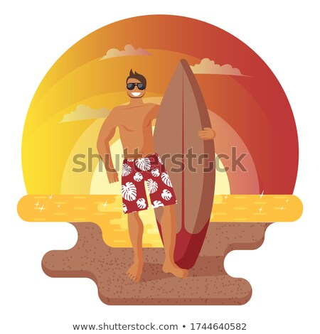 Vector illustration of seaside accessories and sea surf Stock photo © Sonya_illustrations