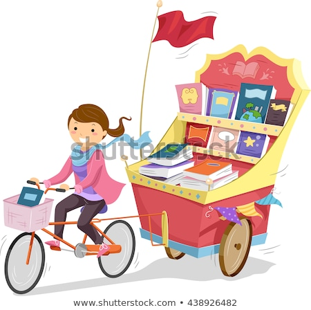 stickman girl biking book cart stock photo © lenm