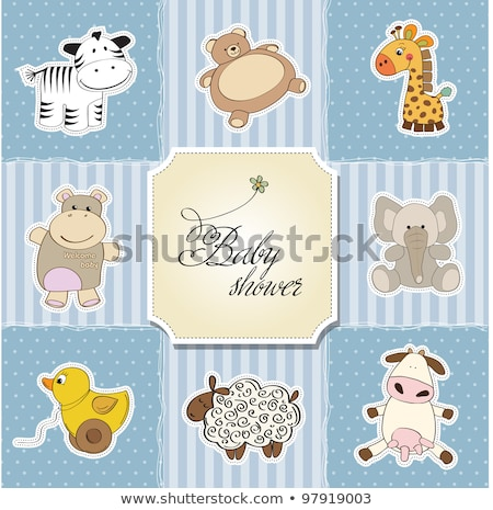 delicate customizable baby shower card template with giraffe toy Stock photo © balasoiu
