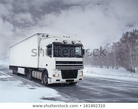 белый грузовика льда дороги метель груза Сток-фото © ssuaphoto