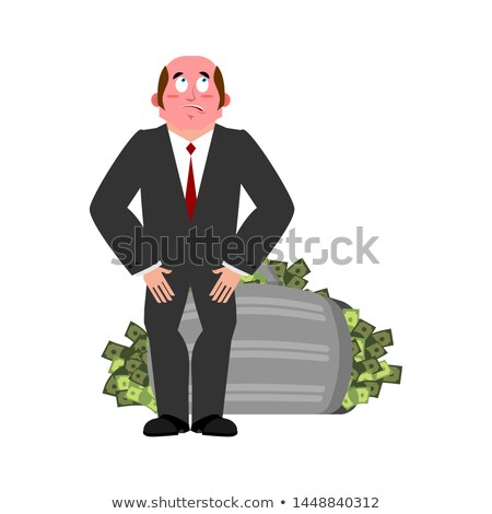 Bribe taker and suitcase of money. Shame boss. Fie upon you! on  Stock photo © popaukropa