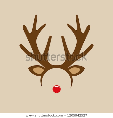 vector xmas drawing of funny red nosed reindeer Stock photo © freesoulproduction