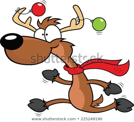 Reindeer Running Christmas Cartoon Stock photo © Krisdog