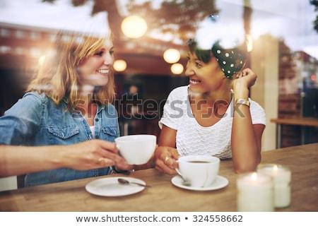 Stockfoto: Twee · vrouwen · coffeeshop · praten · vrouw · voedsel · bril
