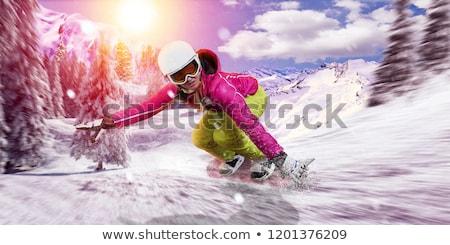 Női snowbordos hódeszka sport hó tél Stock fotó © IS2