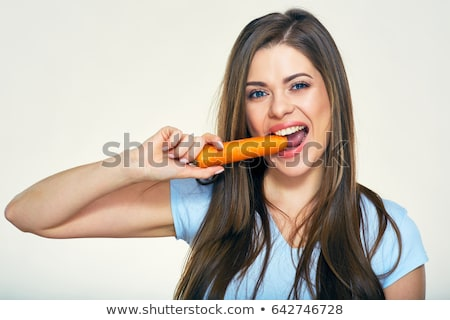 woman eating carrot Stock photo © IS2