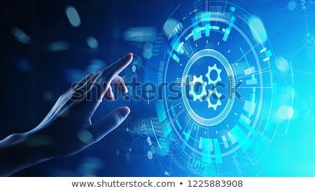 Kéz megérint üzlet automatizálás gomb férfi Stock fotó © tashatuvango
