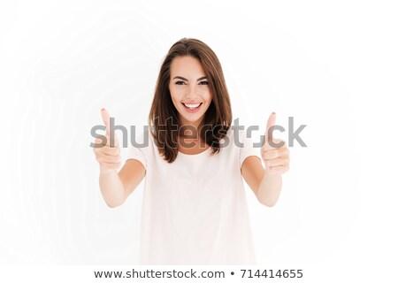 gelukkig · glimlachend · jonge · vrouw · Rood · cardigan · mode - stockfoto © dolgachov