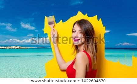 Genç kadın hazır yaz tatili beyaz iş kız Stok fotoğraf © Elnur