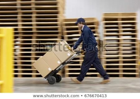 Photo stock: Travailleur · poussant · entrepôt · boîte · travail · couleur