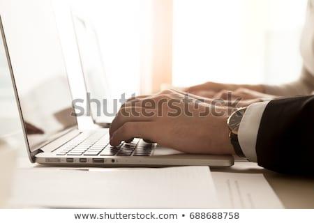 Laptop képernyő hosting megoldások modern munkahely Stock fotó © tashatuvango