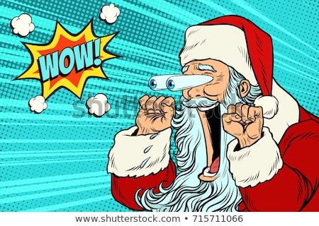 wow Santa Claus Pop art retro Stock photo © studiostoks