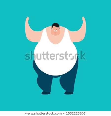 Fat confused emotions. Stout guy is perplexed. Big Man surprise. Stock photo © popaukropa