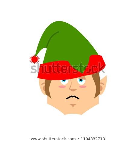 Christmas Elf sad Emoji. Santa helper sorrowful emotion Stock photo © popaukropa