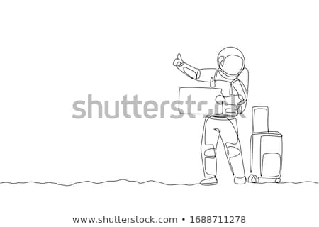 hitchhiker astronaut with travel suitcase Stock photo © studiostoks