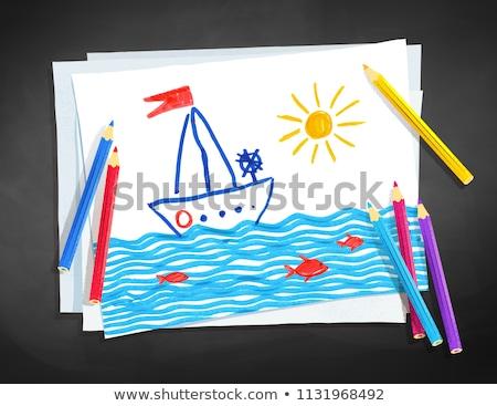 Cor lápis papel topo ver transparência Foto stock © Sonya_illustrations