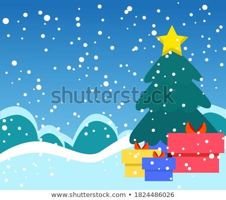 invierno · paisaje · caer · nieve · ataviar · forestales - foto stock © sonya_illustrations