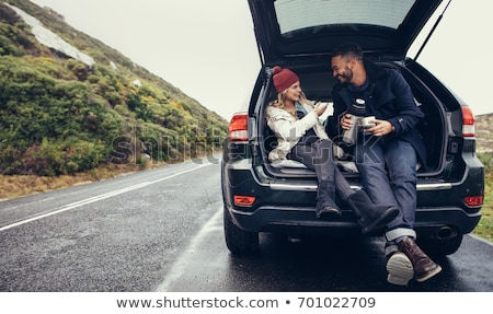 Couple with car, coffee break Stock photo © IS2