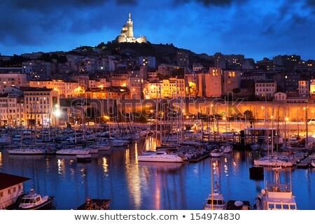 Marseille · Franciaország · éjszaka · híres · európai · kikötő - stock fotó © vichie81