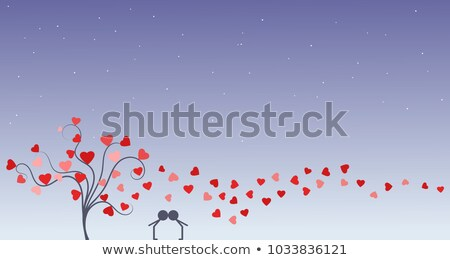 Couple in love next to a tree with hearts Stock photo © liolle