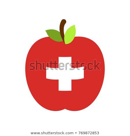 Mela Svizzera bandiera frutta vettore alimentare Foto d'archivio © popaukropa