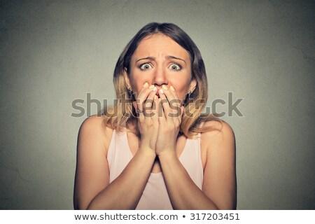 Vicces ijedt nő képregény rajz pop art Stock fotó © rogistok