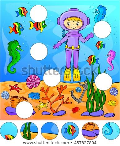 Stock fotó: Talál · hiányzó · gyerekek · puzzle · játék · meduza