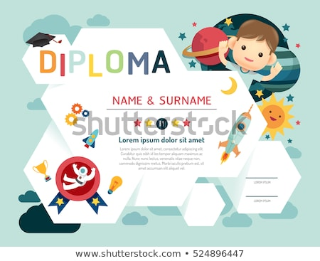 Certificate template with kid in graduation gown Stock photo © bluering