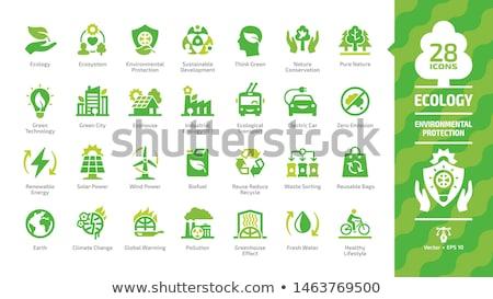 környezeti · konzerválás · szimbólumok · földgömb · levél · felirat - stock fotó © nezezon