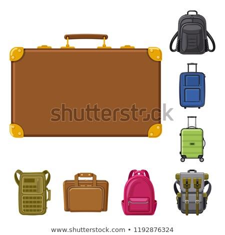koffer · leder · aktetas · vector · ontwerp · illustratie - stockfoto © rastudio