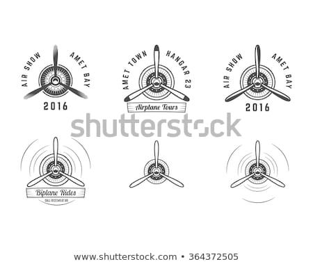 Stock photo: Classic propeller airplane isolated icon
