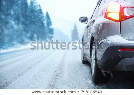 Stock photo: Car on the road snow frosty winter day