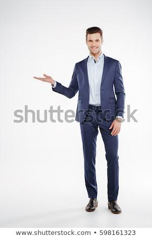 teljes · alakos · portré · boldog · derűs · férfi · fehér - stock fotó © deandrobot
