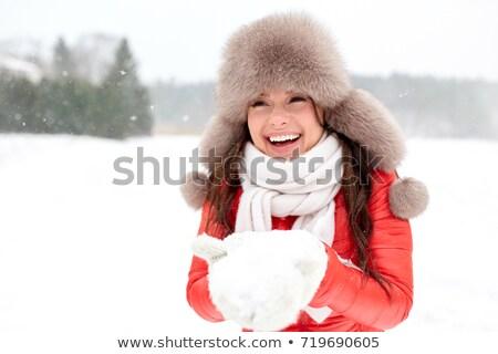 gelukkig · vrouw · winter · bont · hoed - stockfoto © dolgachov