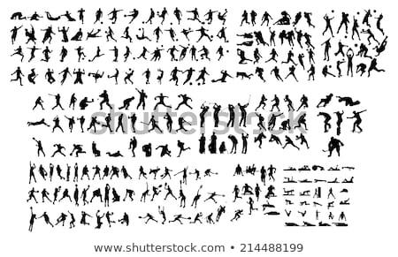 Sziluett sportok illusztráció sok sport kosárlabda Stock fotó © colematt