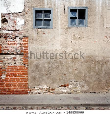 Detalhes vermelho tijolos calçada grama construção Foto stock © hsfelix